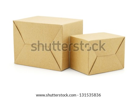 Brown Paper Boxes on White Background