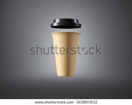 Brown paper cup with plastic top on the gray background. Front view. 3d rendering - stock photo