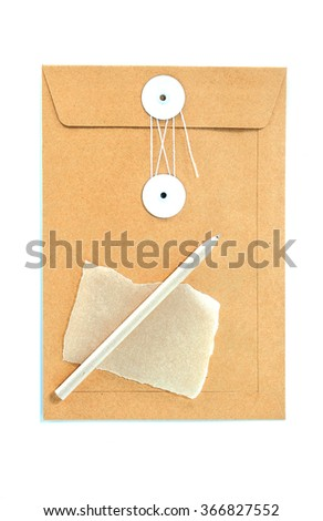 Brown paper envelope with pen and  note paper. Isolated on white background - stock photo