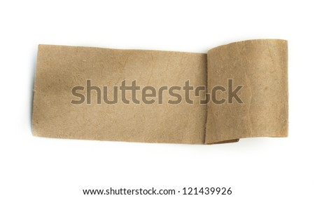 Brown paper label white isolated. - stock photo