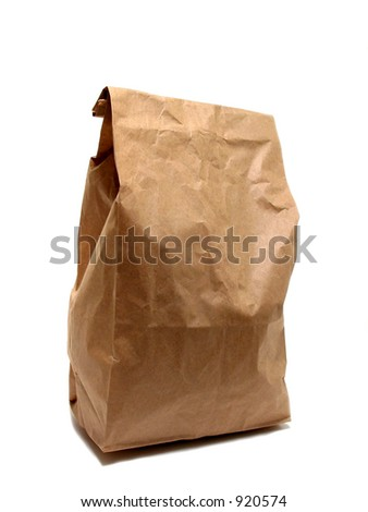 Brown paper lunch bag isolated on white background
