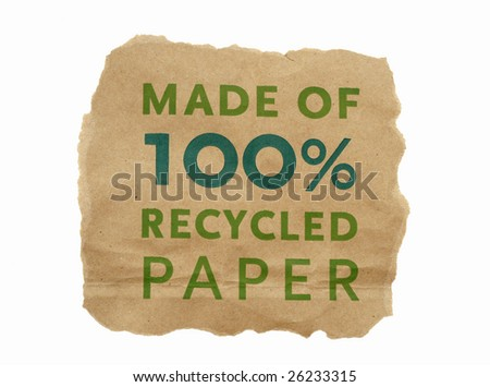 brown paper made of one hundred percent recycled paper with torn edges isolated on white background - stock photo