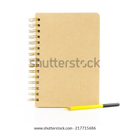 brown paper notebook with yellow pencil isolated on white background,Template for adding your content