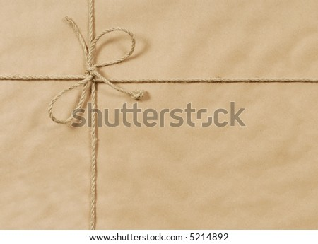 Brown paper parcel, package background, string