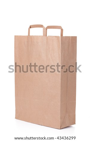 brown paper shopping bag with handles