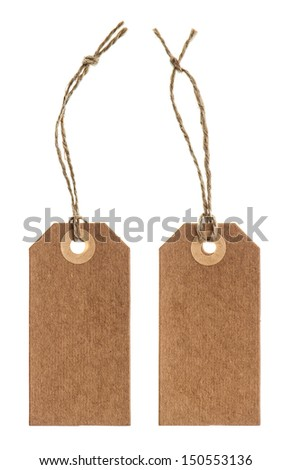 brown paper tag with string isolated on white background - stock photo