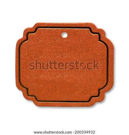 Brown paper tags on white background. Background and texture