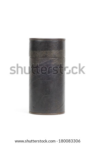 Brown paper tube container isolated over white background - stock photo