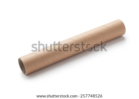brown paper tube isolated on white background