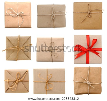 Brown parcels isolated - stock photo