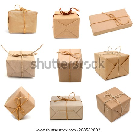 Brown parcels, isolated, white background  - stock photo