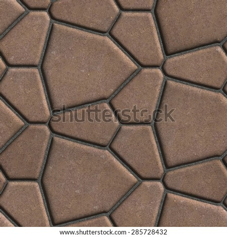 Brown Paving Slabs in the Form Polygons of Different Value. Seamless Tileable Texture. - stock photo