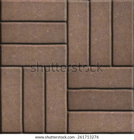 Brown Paving Slabs of Rectangles Laid Out on Three Pieces Perpendicular to Each Other. Seamless Tileable Texture.