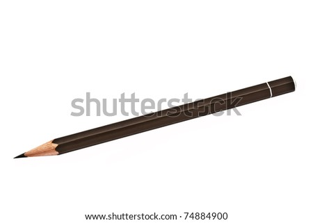 Brown pencil isolated on white background