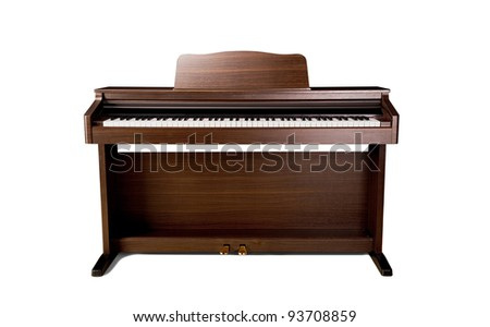 brown piano isolated on a white background - stock photo