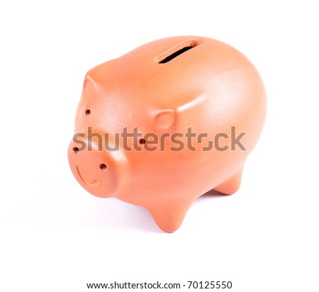 Brown piggy bank isolated on white