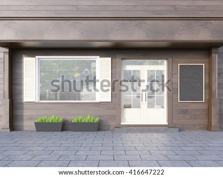 Brown plank cafe exterior with blank chalkboard. 3D Rendering - stock photo