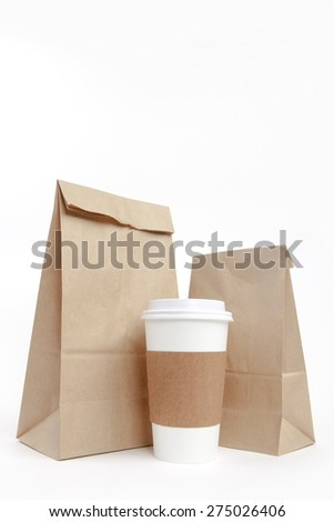Brown recyclable paper bags and cup - stock photo