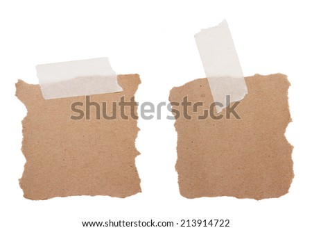 Brown recycle note paper isolated on white background  - stock photo