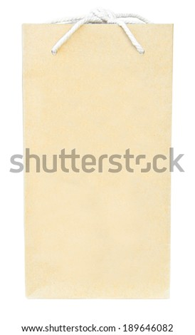 Brown recycle paper shopping bag over white floor, clipping path