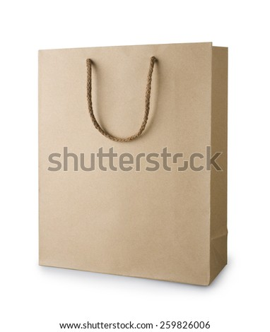 Brown recycle shopping bag with handles isolated on white - stock photo