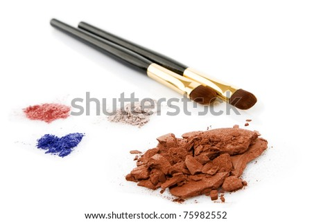 brown,red, blue powder for makeup and two brush