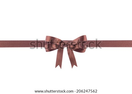 Brown ribbon with a bow on  white background