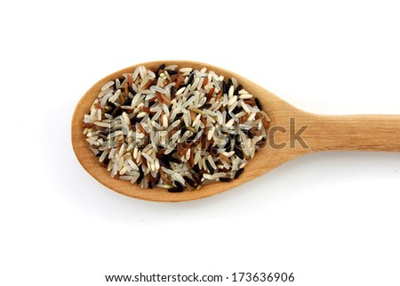 Brown rice in the spoon isolated on white background. - stock photo