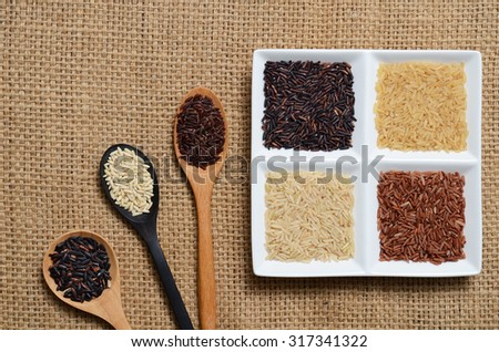 Brown rice in ware - stock photo