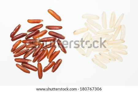 brown rice isolate on white background - stock photo