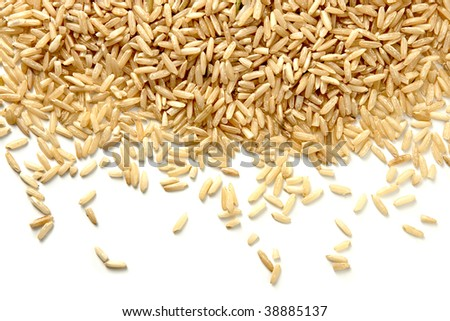 Brown Rice on White Background - stock photo