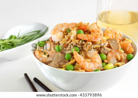Brown rice, shrimp and pork bowl - stock photo