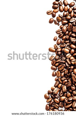 Brown roasted coffee beans isolated on white background.  Arabic roasting coffee ingredient of hot beverage.  Fragrant fried coffee beans close up. - stock photo