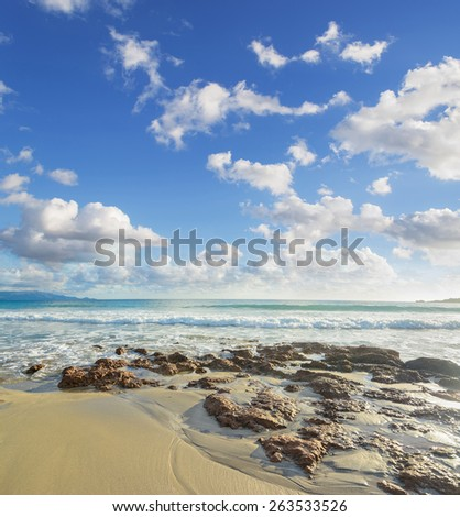 brown rocks in Le Bombarde beach, Sardinia - stock photo