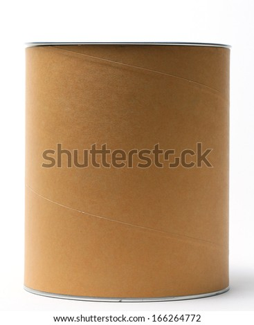 Brown round box isolated on white background - stock photo