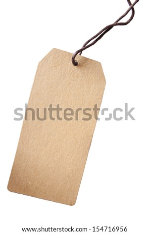 Brown sale tag isolated on white background