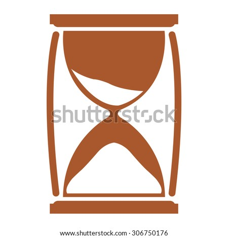 Brown Sandglass Infographics Flat Icon, Sign Isolated on White Background - stock photo