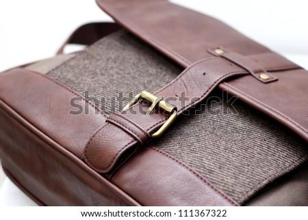 Brown satchel bag - stock photo