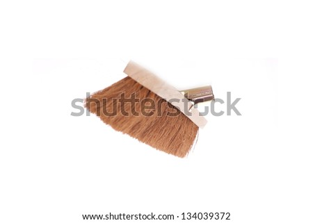 Brown scrubbing broom on white background - stock photo