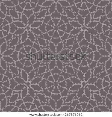 Brown seamless texture halftone lace floral pattern on the dark background - stock photo