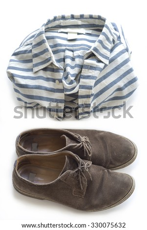 Brown shoes and striped shirt.