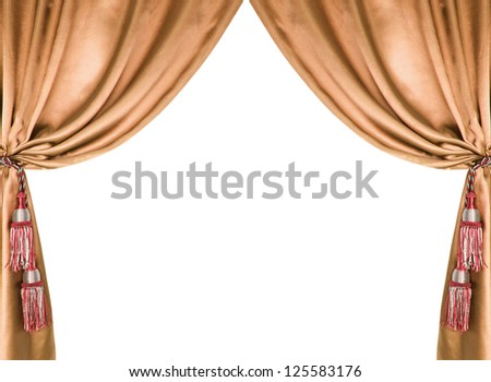 brown silk curtain with tassels over white background - stock photo