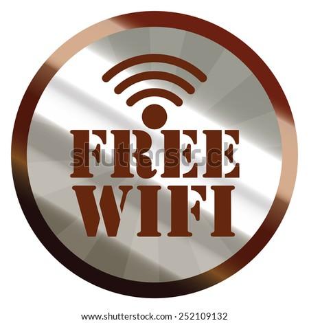 brown silver metallic circle free wifi sticker, icon, label isolated on white - stock photo