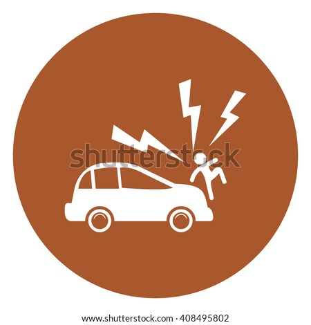 Brown Simple Circle Car Knocked Down The Man Infographics Flat Icon, Sign Isolated on White Background