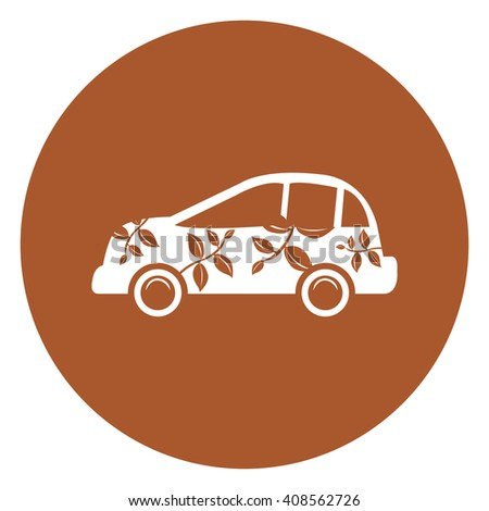 Brown Simple Circle Eco Car Infographics Flat Icon, Sign Isolated on White Background - stock photo