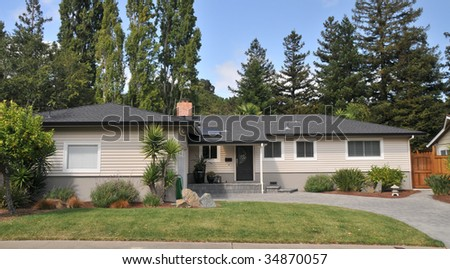 Brown single family house with grass in front