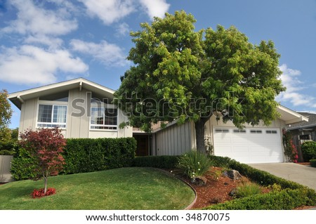 brown single family house with grass, landscape, and large tree in front