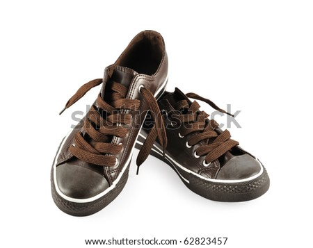 brown sneakers isolated on white background - stock photo