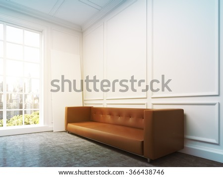 Brown sofa standing at the white wall, three elements of wall decor in shape of rectangles over it. City view in the panoramic window to the left. Side view. Concept of interior design. 3D rendering - stock photo