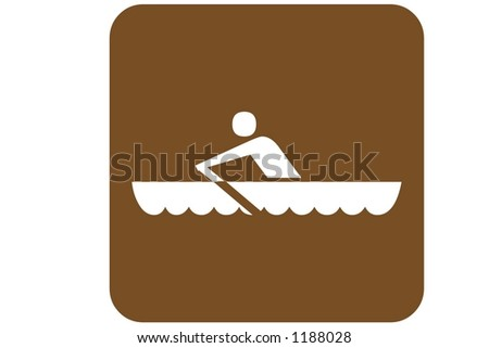 Brown Sq non-motorized boating area Recreational Sign isolated on a white background - stock photo